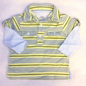 Joe Fresh 100% cotton long sleeve polo shirt 3-6M